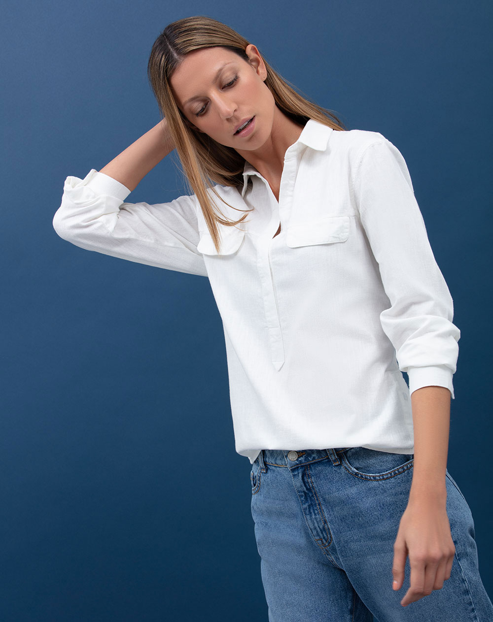 Mujeres Camisetas Exterior Punto Blanco Camisas Y b7gfYy6vI