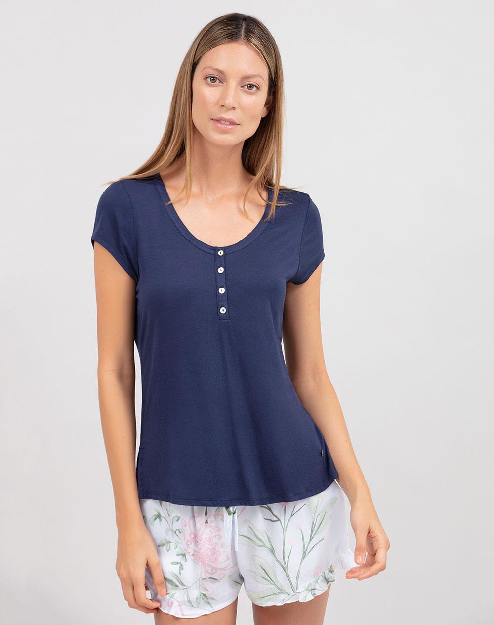82098bbaee46 Camiseta de Mujer Trinity Azul Marino de Pijama Punto Blanco
