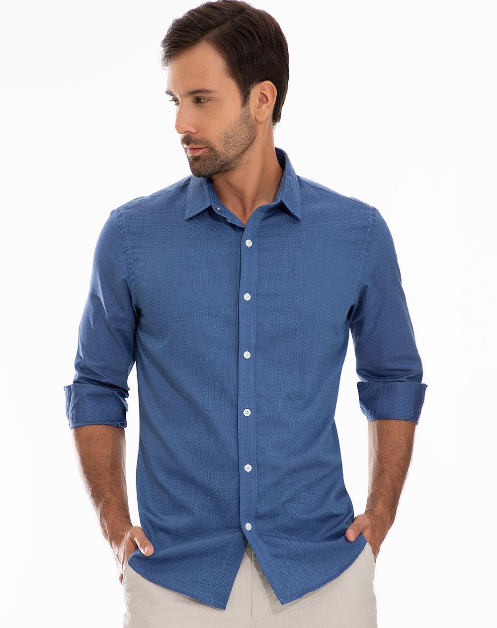 552574743a Camisa de Hombre Nowto Azul Oscuro Cuello Francés Punto Blanco