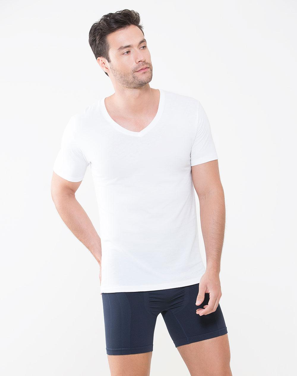 Camiseta de hombre chad blanca en algod n pima punto blanco for Camisetas de interior hombre