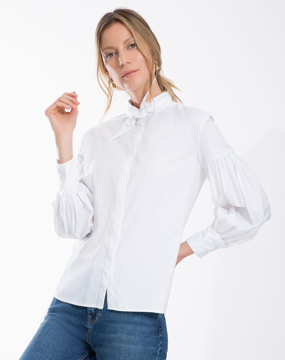 f2ec7467943e Camisa de Mujer Adallia Blanca Mangas Amplias Punto Blanco