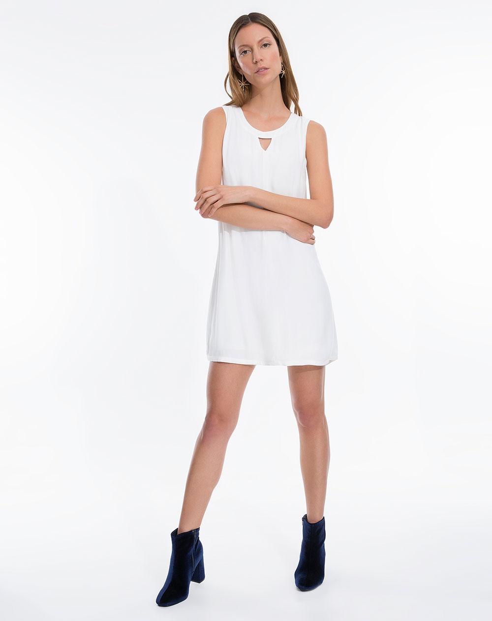 Vestido punto blanco mujer