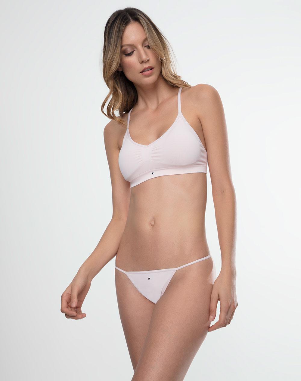 Panty de mujer sssh bloom rosado claro suaves fibras punto for Ropa interior punto blanco